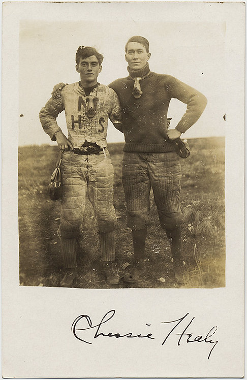 SUPERB STUNNING RPPC EARLY HANDSOME RUGGED FOOTBALL PLAYERS EMBRACE Ch. Healy