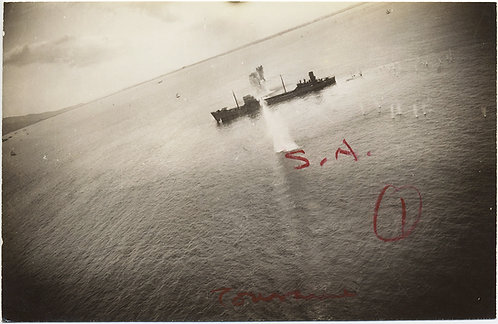 VIEW of JAPANESE MERCHANT SHIP in WWII AERIAL BOMBARDMENT