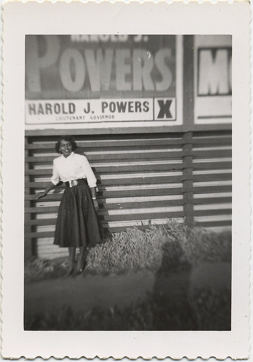STUNNING AFRICAN AMERICAN WOMAN at Harold Powers POLITICIAN BILLBOARD