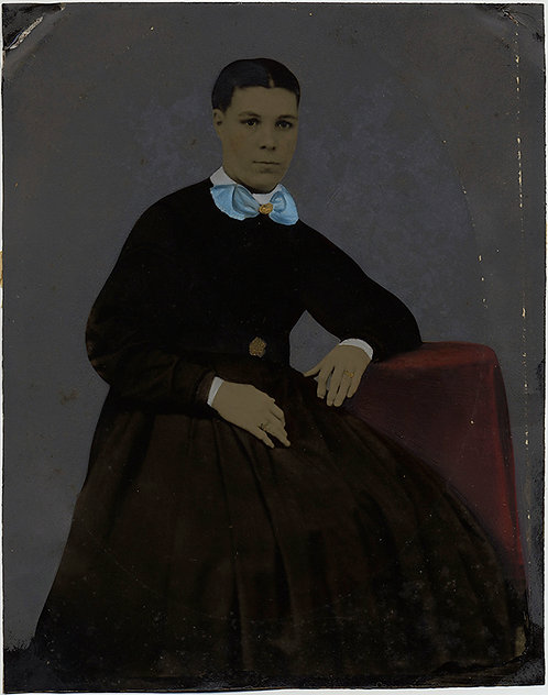 STUNNING FOLK ART FULL PLATE PAINTED TINTYPE PORTRAIT of WOMAN AFRICAN AMERICAN?