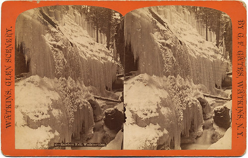 WATKINS GLEN FROZEN RAINBOW FALLS STEREOVIEW G F GATES ICICLES Lehigh Valley RR