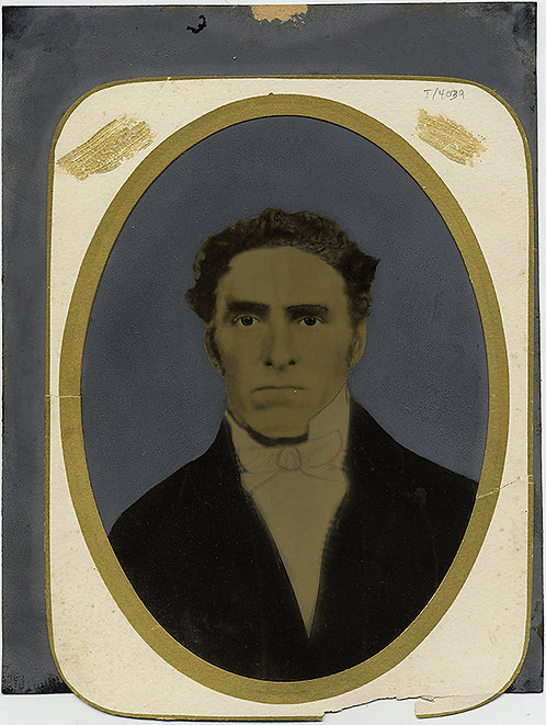STRONG JAWED HANDSOME MAN FULL PLATE TINTYPE HAND PAINTED PORTRAIT