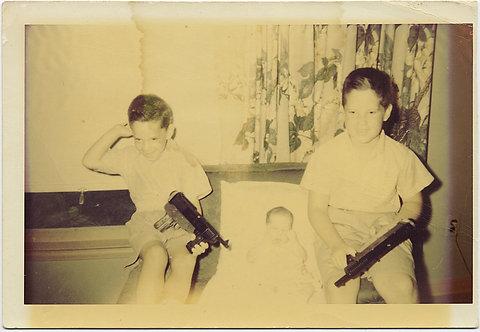 KIDS GUARD INFANT BABY w UZIS MACHINE GUNS at the READY WEIRD