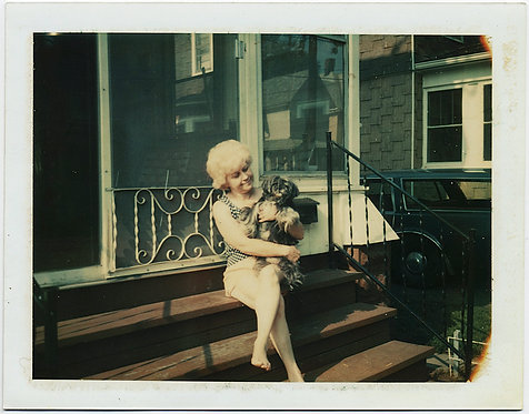 BLONDE BOMBSHELL and SHAGGY HAIRED POOCH PET DOG SCREENED PORCH STEPS POLAROID