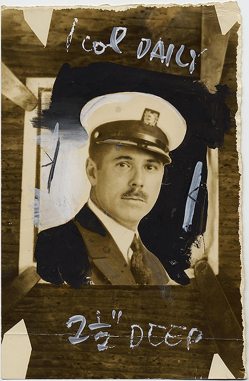 VERY META! PAINTED PRESS PHOTO (of PHOTO) of SHIP's CAPTAIN