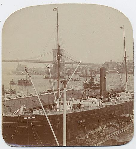 EARLY NEW YORK CITY HARBOR VIEW (1/2 STEREO) w Rio Grande SHIP BROOKLYN BRIDGE