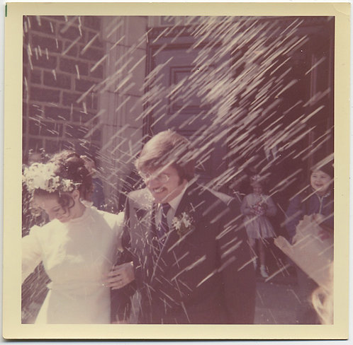 DEPARTING NEWLYWEDS LEAVE CHURCH in HAIL of BLURRY RICE STORM