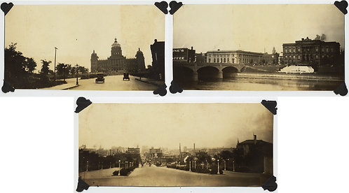 3 EARLY IMAGES of DES MOIBNES IOWA STREET SCENES CAPITOL BUILDING RIVER