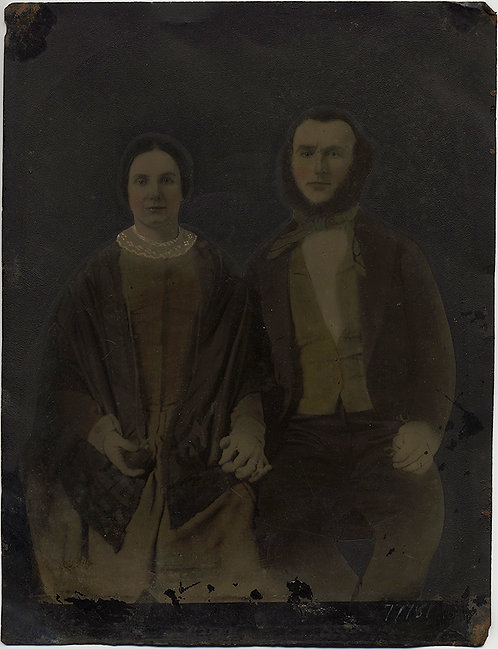 LARGE IMPRESSIVE FULL PLATE TINTYPE HAND PAINTED YOUNG COUPLE NEWLYWEDS?