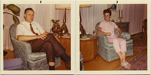 THE BLUE CHAIR! GREAT DIPTYCH MAN & WOMAN & THAT SPECIAL CHAIR