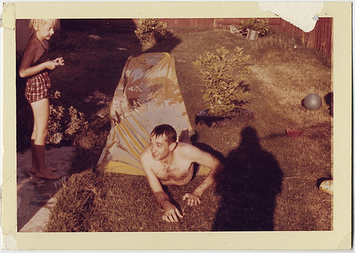 UNUSUAL WET NAKED MAN CRAWLS OUT of TENT in BACK YARD SHADOW LOOMS CHILD AWAITS