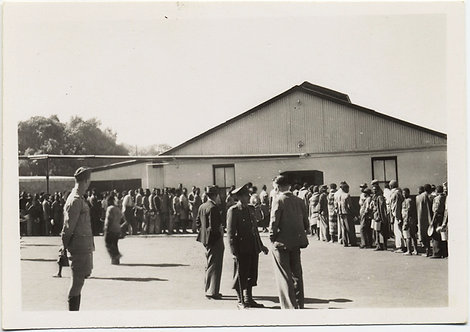 RARE! SOUTH AFRICAN MILITARY oversee lines of BLACK MEN!  2 (identical) photos