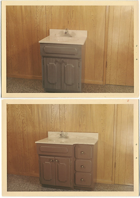 SUPERB 70s BANALITY BATHROOM VANITY PRODUCT DIPTYCH CHEAP PANELING & MORE! 2 pix