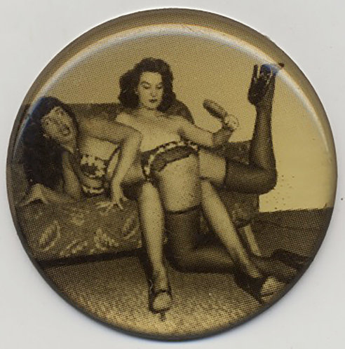 CELLULOID? BUTTON INSERT? BETTY BETTIE PAGE HAIRBRUSH SPANKING