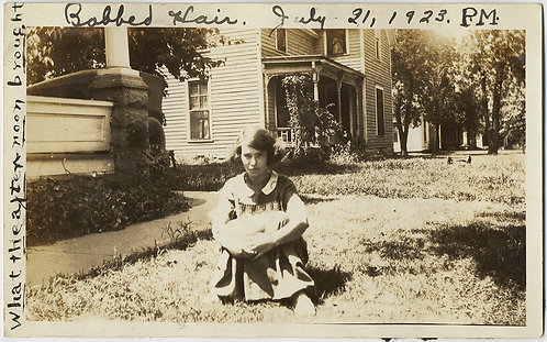 IN the AFTERNOON! SULLEN UNHAPPY WOMAN w BOBBED HAIR AWESOME CAPTION on GRASS