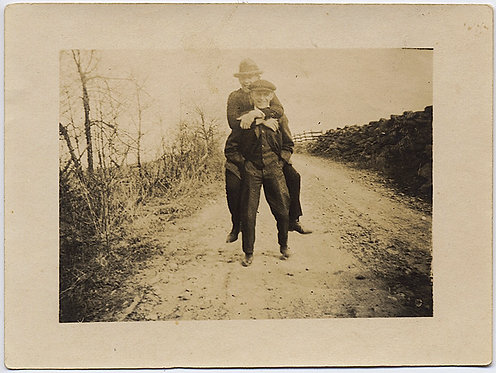 TWO CUTE MEN in HATS PIGGYBACK on COUNTRYROAD GAY INT!