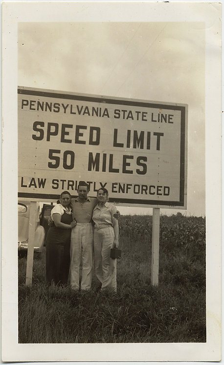SUPER PENNSYLVANIA STATE LINE WELCOME to PA GROUP SPEED LIMIT SIGN
