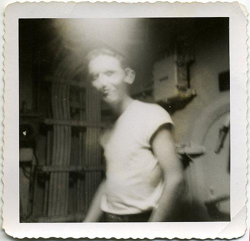 WONDERFUL MYSTERY ENIGMATIC BLURRY BOY SAILOR in T-SHIRT on SHIP SUBMARINE?