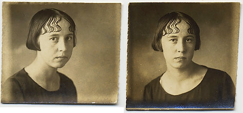 PENNY PHOTO PHOTOBOOTH SERIOUS UNHAPPY WOMAN w HAIRSTYLE to be UPSET ABOUT 2 pic