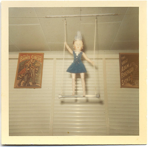 BIZARRE & UNUSUAL WEIRD DOLL on TRAPEZE w BARNES CIRCUS & ADAM FOREPAUGH POSTER