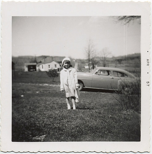 CUTE LITTLE GIRL in SUNDAY BEST in PASTORAL LAWN SETTING w VINTAGE CAR