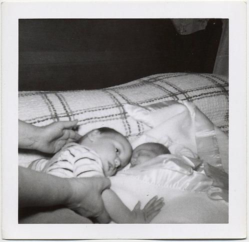 DISTURBING SURREAL RELUCTANT CATATONIC LOOKING CHILD PUT next to NEWBORN INFANT