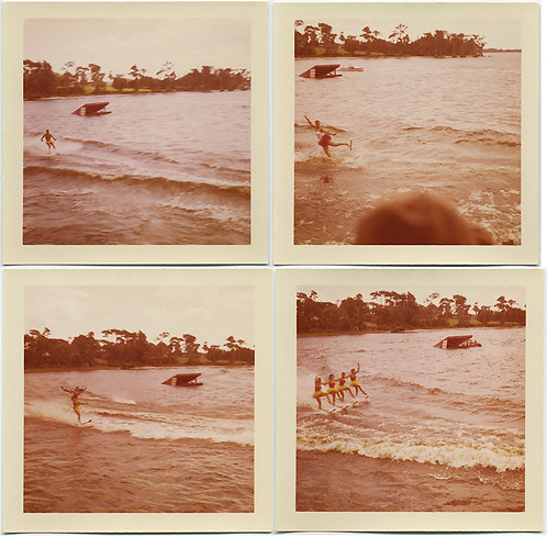 WATERSKIING PERFORMER-ACROBATS show off! Singles, duo & quartet! 4 PICS!