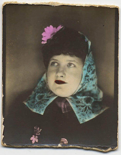 SUPERB HAND TINTED PHOTOBOOTH WOMAN w FLOWER in HAIR and SCARF around HEAD