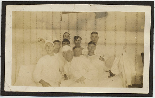 GHOSTLY FIGURES WOUNDED MEN in HOSPITAL WARD BANDAGED in WHITE SPECTRAL