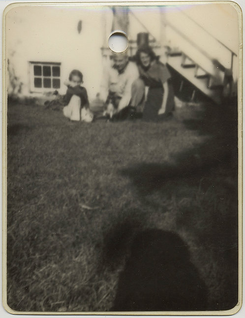 UNUSUAL LAMINATED BANAL SNAPSHOT FAMILY PLAYS w PUPPY