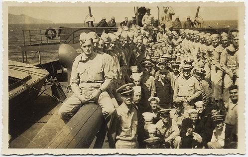 HANDSOME SOLDIERS STRADDLE BIG POLE FREUDIAN GROUP PORTRAIT ON BOARD SHIP