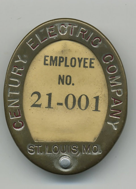 EMPLOYEE ID BADGE w NUMBER NO PHOTO CENTURY ELECTRIC CO St Louis