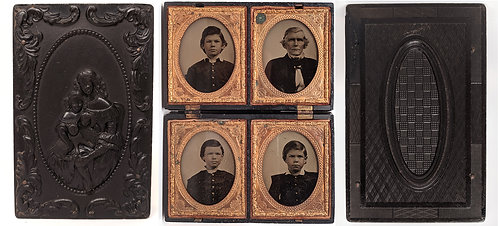 RARE/SCARCE DOUBLE 9th PLATE UNION CASE 4 9th plate AMBROTYPES KIDS ex-Berg