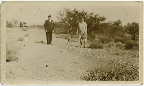 STRANGE SOFT FOCUS COUPLE in FORMAL DRESS and DOG on DIRT COUNTRY ROAD