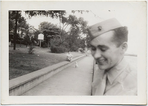 AWESOME RECEDING VANISHING POINT BLURRY SMILING SOLDIER TOO CLOSE to LENS