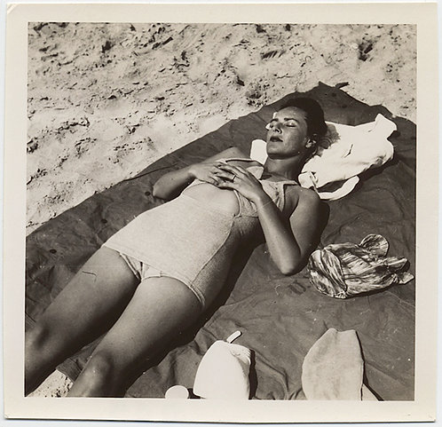 SEXY WOMAN in SWIMSUIT ASLEEP on BEACH CLASPS HANDS and DREAMS of...