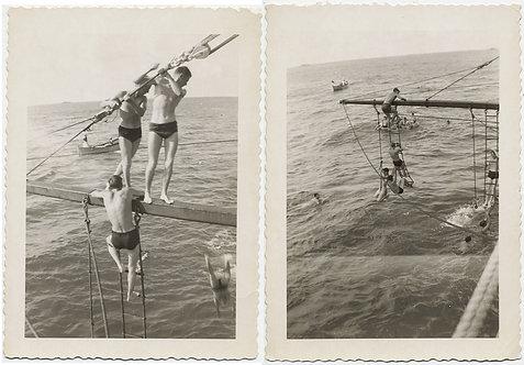 "HOT HANDSOME YOUNG MEN in ""SPEEDOS"" COOL OFF SWIM in SEA DIVE OFF YARDARM"