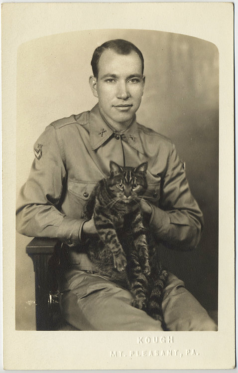 WONDERFUL RPPC HANDSOME SERVICEMAN w TABBY CAT KITTY in FORMAL PORTRAIT