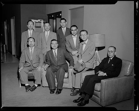 4x5 NEGATIVE PRESS PHOTO JAPANESE EDUCATORS GATHER for GROUP PORTRAIT