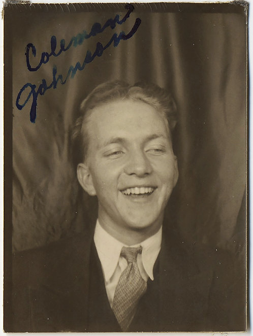 GIDDY HAPPY HANDSOME LAUGHING CUTE YOUNG MAN Coleman Johnson PHOTOBOOTH PORTRAIT
