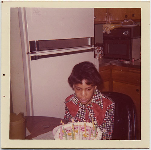KID in GREAT OUTFIT BLOWS OUT BIRTHDAY CANDLES in 70s KITCHEN