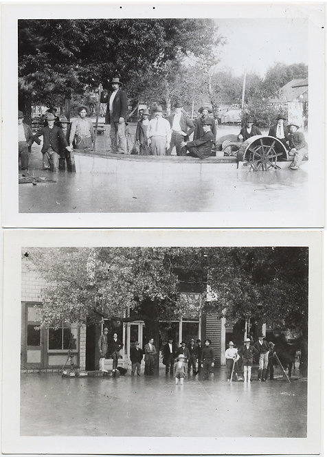 AMAZING FLOOD COMBO 2 pics CROWD MEN STAND KNEE-DEEP in FLOODWATER PADDLEBOAT
