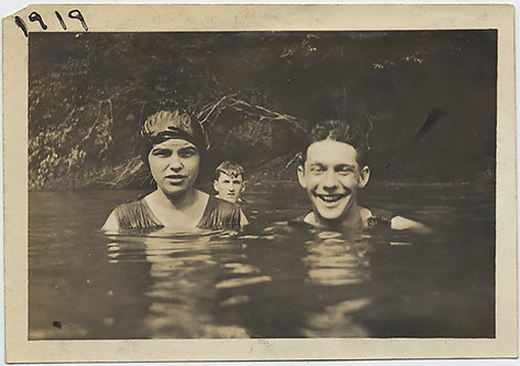 HAPPY THREESOME GROUP UP to THEIR NECKS in POND WATER SWIM 1919