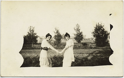 AFFECTIONATE WOMEN HOLD HANDS in INTERESTINGLY MASKED RPPC UNUSUAL LESBIAN INT