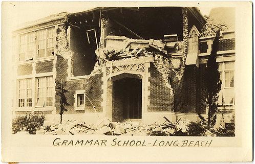 DESTROYED COLLAPSED GRAMMAR SCHOOL EARTHQUAKE? LONG BEACH RPPC