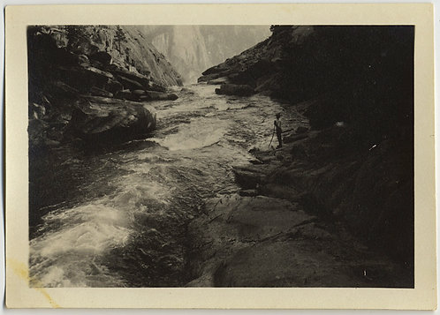 HIKER SURVEYS ROARING RIVER FLOWING thru AWESOME CANYON LANDSCAPE