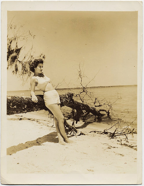 BATHING BEAUTY IDd POSES on BEACH against SCULPTURAL DEAD TREE BRANCH CHEESECAKE