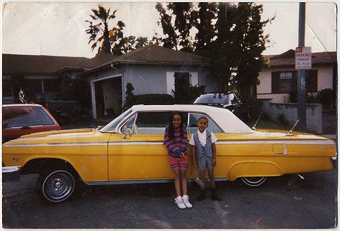 BLACK AFRICAN AMERICAN KIDS w HUGE VINTAGE YELLOW COOL CAR SUBURBAN STREET