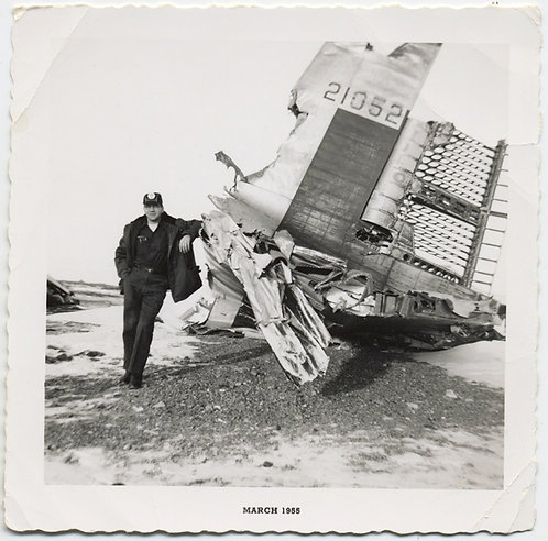 MAN STANDS for PORTRAIT at WRECKED TAIL of CRASHED AIRPLANE AIRLINE DISASTER