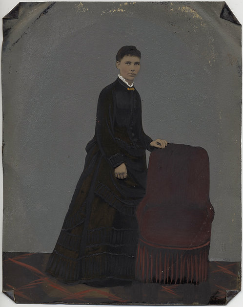 Painted Full Plate Tintype: Standing Woman